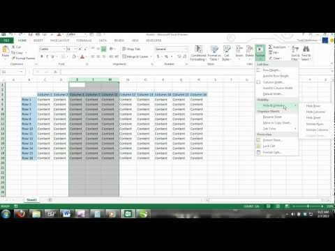 Excel 2013 Tutorial For Noobs Part 21: How to Delete Hide & Unhide Rows Columns & Cells 2010