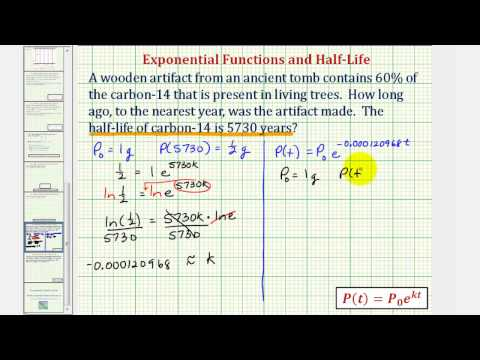 Ex: Exponential Model - Determine Age Using Carbon-14 Given Half Life