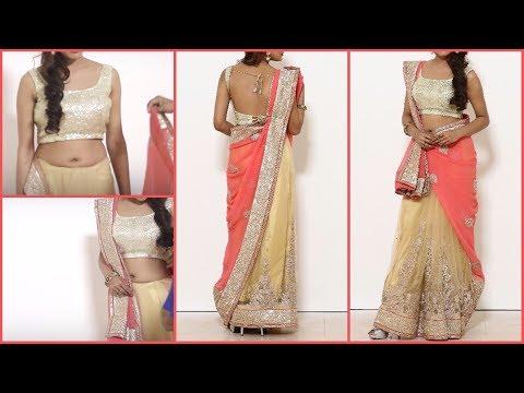 Stylist lehenga saree Draping | Gujrati style Saree Blouse wearing