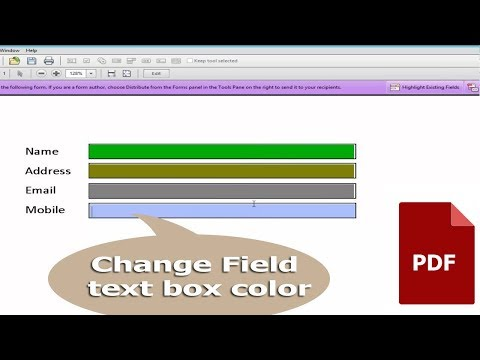 PDF Tutorial- How to change Field text box color in PDF Document by using adobe acrobat pro