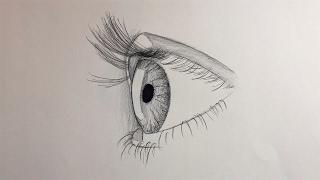 تعليم الرسم وأسهل طريقة لرسم العين من الجانب