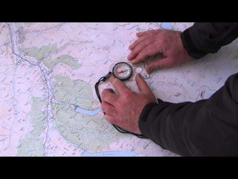 Taking a compass bearing from a map