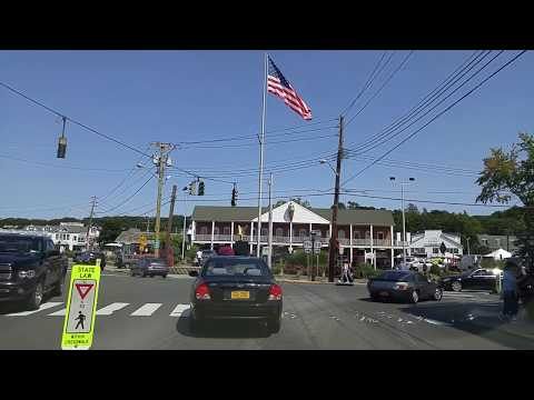 Driving by Port Jefferson in Suffolk,New York