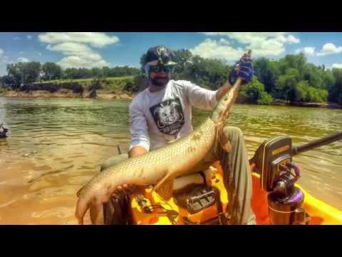 How to catch Monster Alligator gar. Kayak Fishing, YakManPro