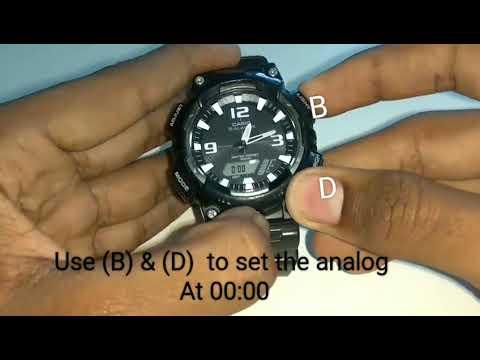 casio tough solar watch analog setting (model no-5208)