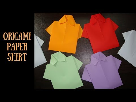 Origami paper shirt. how to make origami paper shirt. paper craft ideas for kids.
