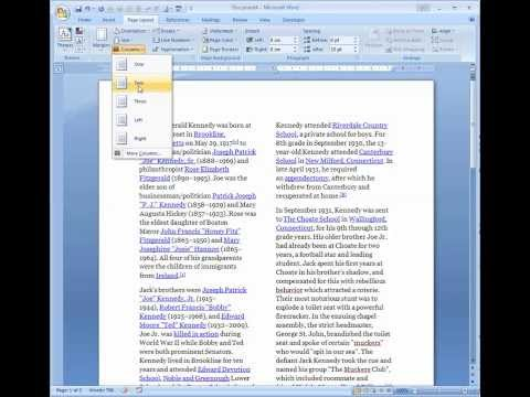 create columns with line between in Word