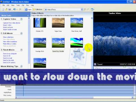 Windows Movie Maker Tutorial : Speed up and Slow Down