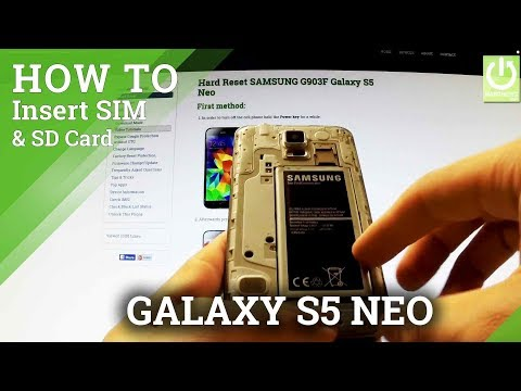 Inserting SIM and Micro SD Card in SAMSUNG G903F Galaxy S5 Neo - Install SD & SIM