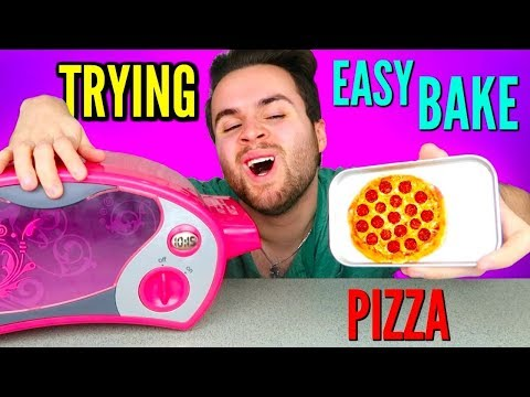 TRYING EASY BAKE OVEN PIZZA MEAL! - DIY Tiny Pizza & Cookies Taste Test!