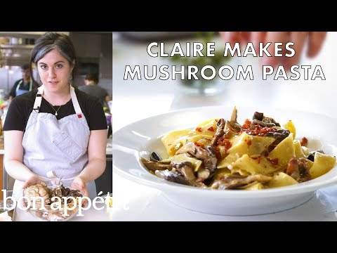 Claire Makes Creamy Pasta with Mushrooms and Prosciutto   From the Test Kitchen   Bon Appetit