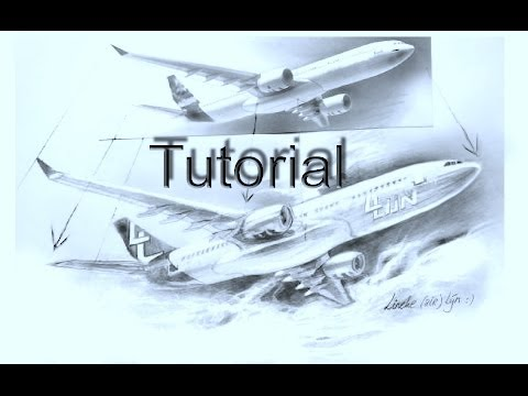 Drawing an  AIRPLANE and clouds - Realistic in graphite pencil for beginners