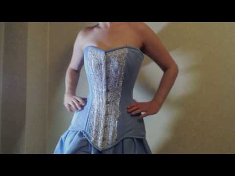 Pale blue cotton and laces authentic waist training Corset