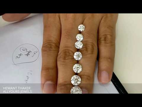 Round shape diamond size comparison with MM size 1ct untill 3ct Hindi