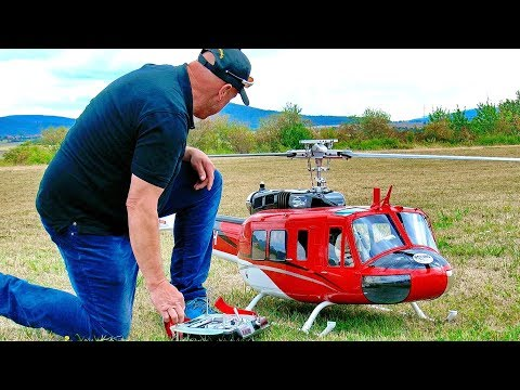 STUNNING RC BELL-205 UH-1D SCALE MODEL TURBINE HELICOPTER FLIGHT DEMONSTRATION