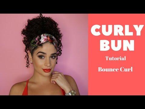 Curly hair bun tutorial with headband