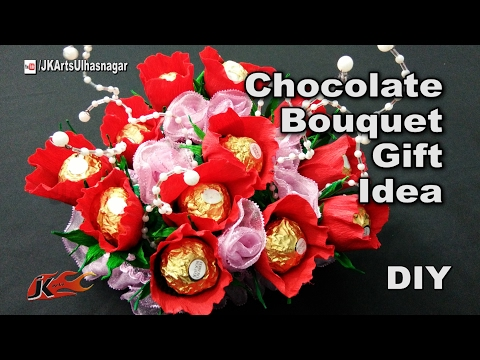 How to make a chocolates bouquet | Ferrero Rocher Candy stand  | festival Gift Idea | JK Arts 1181