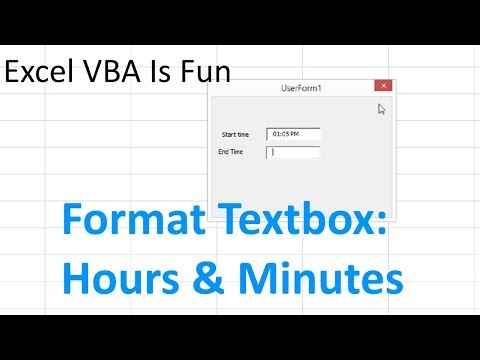 Excel VBA Format Textbox Hours and Minutes for Start Time and End Time