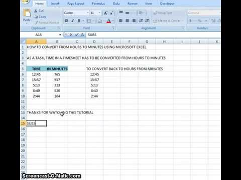 00005 - How To Convert From Hours To Minutes Using Microsoft Excel