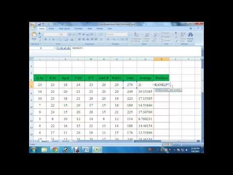 ms excel 2007 tutorial Rank function