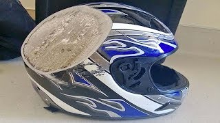Photos Of Post Crash Helmets That Are Reminders To ALWAYS Wear One