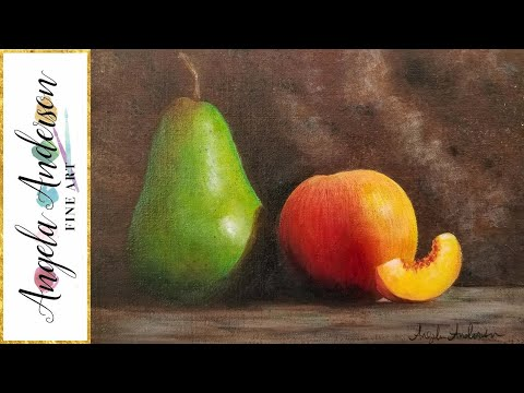 Advanced Blending Techniques with Acrylics Pear Fruit Still Life Painting Tutorial LIVE