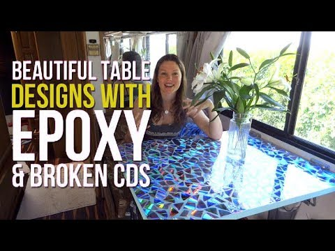 DIY RV Renovations: Make a beautiful table with epoxy and CDs