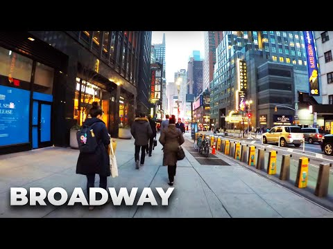 ⁴ᴷ Walking Tour of Manhattan, NYC - Broadway from Central Park to South Ferry during Rush Hour