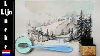 Goede BERGEN tekenen beginners pastel potlood tekening XD-18