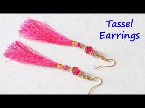 DIY Tassel Earrings Tutorial   Silk Thread Jewellery Making   Little Crafties