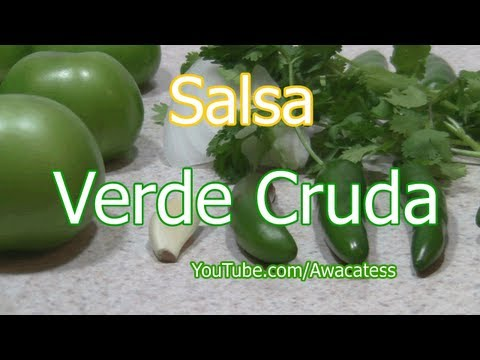 Como preparar la Receta de Salsa Verde Cruda. Comidas Mexicanas Faciles de hacer. raw green sauce