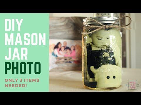 Easy 3 Item Craft Idea: DIY Mason Jar Photo!