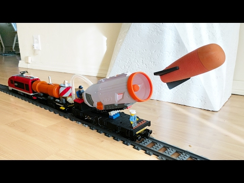 Lego train and Nerf missile test