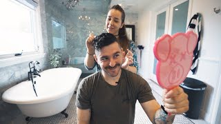 getting a haircut from my girlfriend