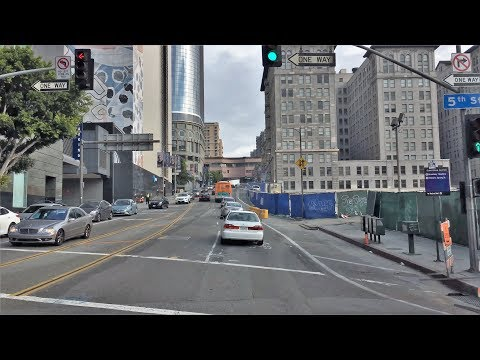 Driving Downtown 4K - LA's Covered Street - Los Angeles USA