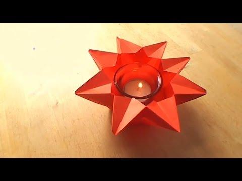 How To Make an Origami Star Candle-Holder - Falte Dir Deinen Origami Stern-Kerzenhalter!