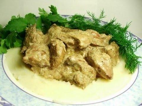 Бефстроганов из свинины в сметанном соусе  пошаговый