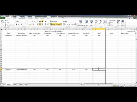 Create a Bookkeeping Spreadsheet using Microsoft Excel - Part 2