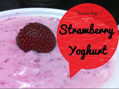 How to make Homemade Strawberry Yoghurt  Flavoured Yogurt Recipe Valentines special