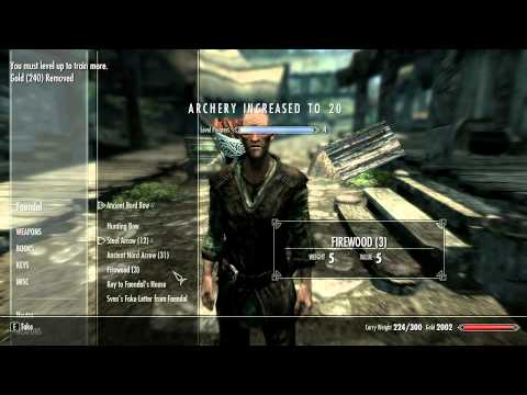 TESV: Skyrim - How to get 50 archery levels in 5 minutes