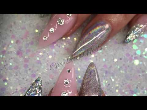 Acrylic nails - pink and silver holo design