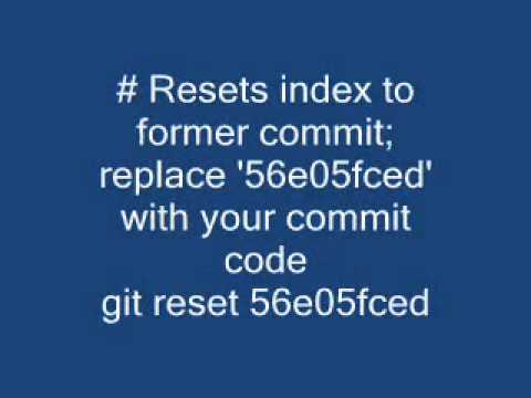 Revert to a previous Git commit