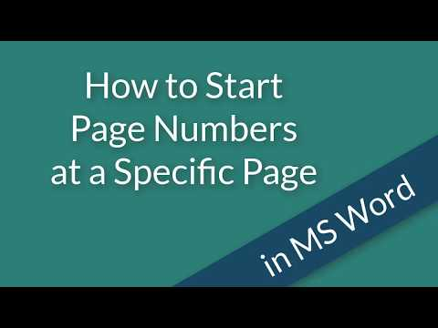 How to Start page numbers at a specific page in ms word