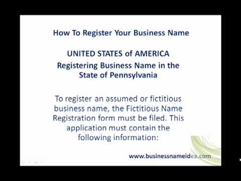 Registering Business Name in the State of Pennsylvania