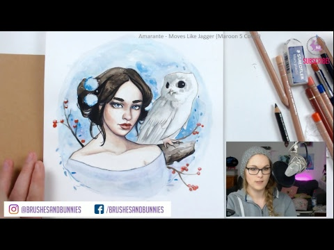 Winter Watercolor Painting #2 【Girl & Snow Owl】- LIVE STREAM