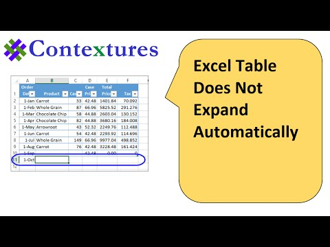 Excel Table Does Not Expand Automatically