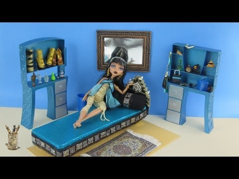 Monster High Tutorial: Cleo de Nile Doll Bed - Recycling - Doll Crafts - simplekidscrafts