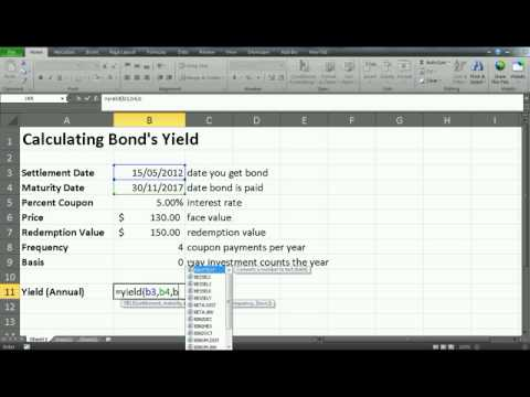financial analysis- how to calculate bond yield using excel