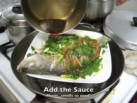 Simple Steamed Fish with Ginger, Shallots and Greens