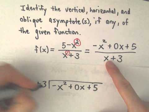 Finding All Asymptotes of a Rational Function (Vertical, Horizontal, Oblique / Slant)